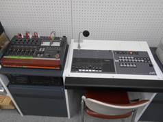 本館放送室のアナウンスマイク